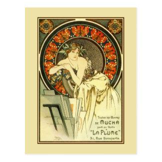 Kunst Nouveau Alfons Mucha, Portfolioanzeige Postkarte