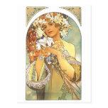 "Kunst Nouveau - Alphonse Mucha ""Blume "" Postkarte"
