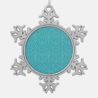 Kunst nouveau, aquamarin, grün, Kunst-Deko, Schneeflocken Zinn-Ornament