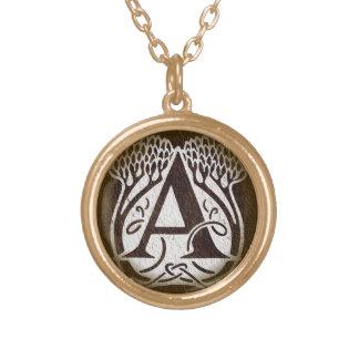 Kunst Nouveau Art ein Monogramm-Initialen-Anhänger Halskette Mit Rundem Anhänger