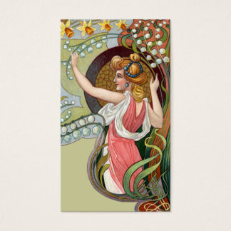 Kunst Nouveau Dame mit Maiglöckchen Visitenkarte