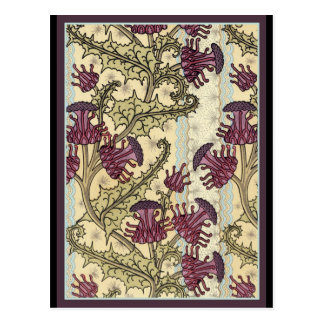 Kunst Nouveau Distel-Blume Postkarte