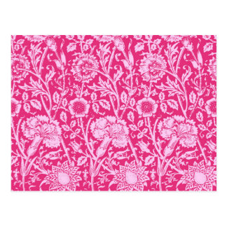 Kunst Nouveau Gartennelken-Damast, Fuchsien-Rosa Postkarte