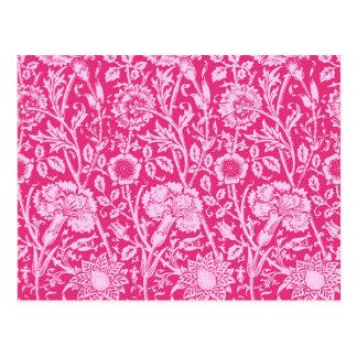 Kunst Nouveau Gartennelken-Damast, Fuchsien-Rosa Postkarten
