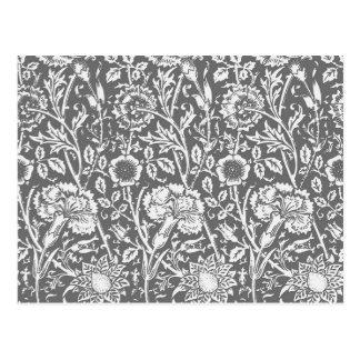 Kunst Nouveau Gartennelken-Damast, Grau/Grau Postkarten