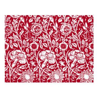 Kunst Nouveau Gartennelken-Damast, Rot und Weiß Postkarte
