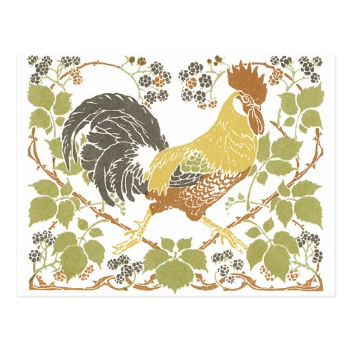 Kunst Nouveau Hühner Postkarte