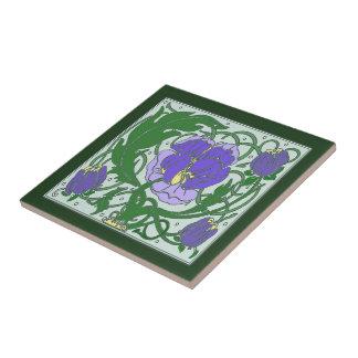 Kunst Nouveau lila Pfingstrosen-Keramikfliese