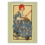 Kunst Nouveau - Mädchen, das mit ihrer Katze stric Karten