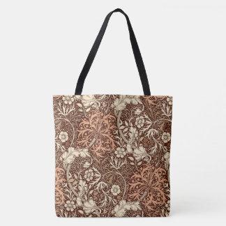 Kunst Nouveau Meerespflanze mit Blumen, Brown und Tasche