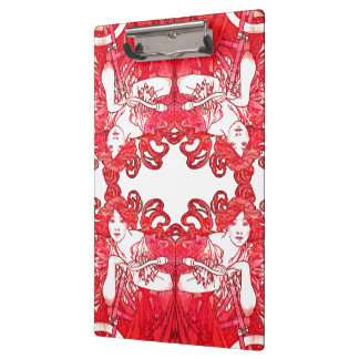 Kunst Nouveau Mucha Dame Red Hair Bike Clipboard Klemmbrett