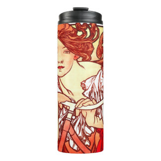 Kunst Nouveau Mucha Dame Sports Bicycle Tumbler Thermosbecher