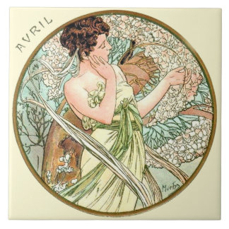 Kunst Nouveau Mucha Kalender April Große Quadratische Fliese