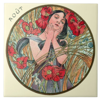 Kunst Nouveau Mucha Kalender-August Keramikfliese