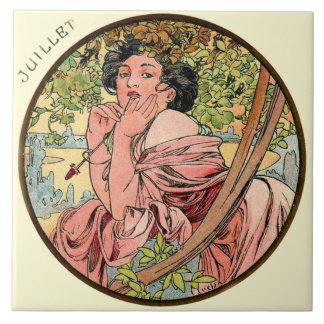 Kunst Nouveau Mucha Kalender Juli Fliese