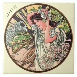 Kunst Nouveau Mucha Kalender Juni Große Quadratische Fliese