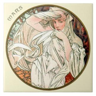Kunst Nouveau Mucha Kalender-März Große Quadratische Fliese