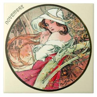 Kunst Nouveau Mucha Kalender November Große Quadratische Fliese
