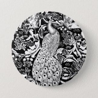 Kunst Nouveau Pfau-Druck, Schwarzweiss Runder Button 7,6 Cm