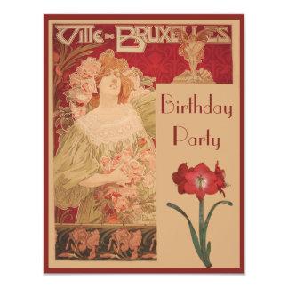 Kunst Nouveau rote Amaryllis u. Dame Birthday 10,8 X 14 Cm Einladungskarte