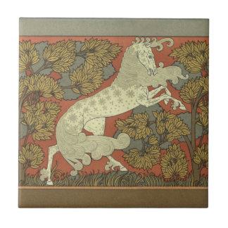 Kunst Nouveau tänzelndes Pferd Keramikfliese