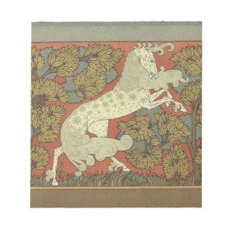 Kunst Nouveau tänzelndes Pferd Notizblock