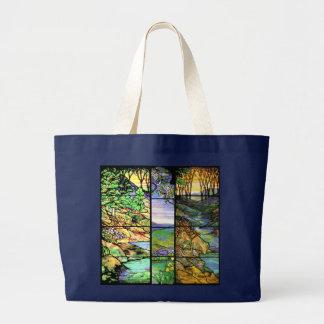 Kunst Nouveau Tiffany Buntglas-Natur Jumbo Stoffbeutel