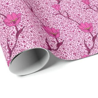 Kunst Nouveau Tulpe-Damast, Wein u. Fuchsien-Rosa Geschenkpapier