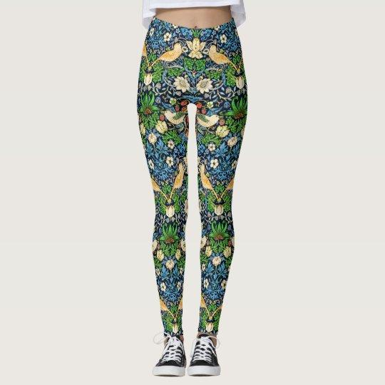 Kunst Nouveau Vogel-und Blumen-Tapisserie-Muster Leggings