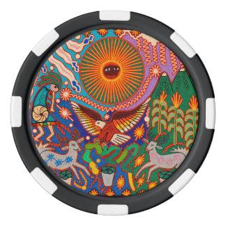Kunst Oaxacas Mexiko mexikanische Stammes- Boho Poker Chips Set
