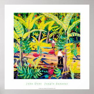 Kunst-Plakat Dschungel-Bananen Costa Rica-Regenw