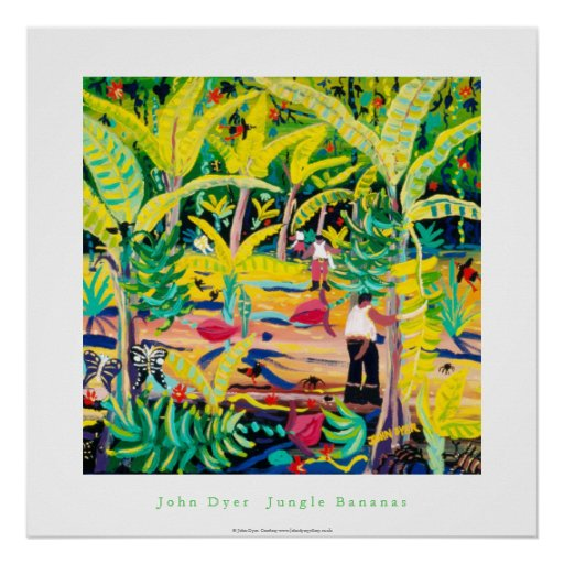 Kunst-Plakat: Dschungel-Bananen, Costa Rica-Regenw