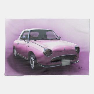 Kunst-rosa Nissan Figaro-Auto-Küchen-Tee-Tuch Handtuch