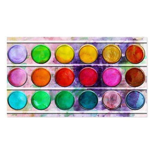 Kunst-Spaß-bunter Farben-Farbkasten Visitenkarten Vorlagen