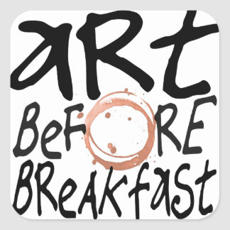 Kunst vor Frühstücksaufkleber Quadratischer Aufkleber