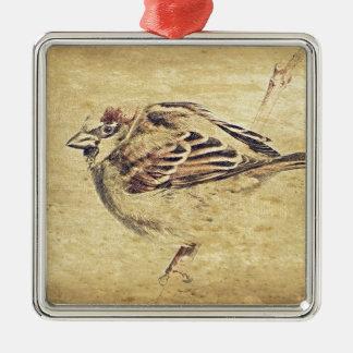 Kunstbleistift-Skizze des Zens wilder Vogel der Quadratisches Silberfarbenes Ornament