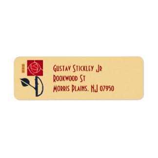 Künste und Handwerks-Rosen-Adressen-Etikett Rücksendeetikett