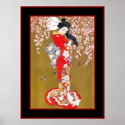 Kunstjapanische Geisha-Dame Vintage Poster