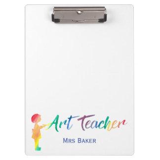 Kunstlehrer-Regenbogenwatercolor-Silhouette Trendy Klemmbrett