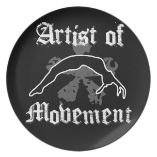Künstler der Bewegung stolpernd Party Teller