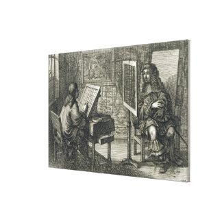 Künstler, der ein Porträt über einem Gitter für ac Galerie Gefaltete Leinwand