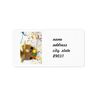Künstler-Farben-Spritzer und Palette der Farbe Adressetikett