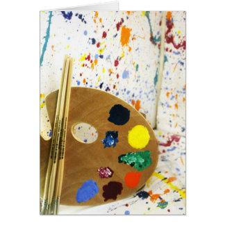 Künstler-Farben-Spritzer und Palette der Farbe Grußkarte