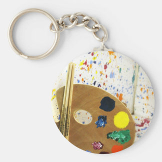 Künstler-Farben-Spritzer und Palette der Farbe Standard Runder Schlüsselanhänger