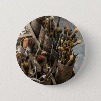 Künstler-Malerpinsel in den alten rostigen Runder Button 5,7 Cm
