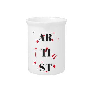 Künstler-roter Speck-Entwurfs-Illustrations-Text Getränke Pitcher