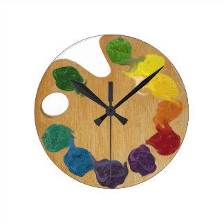 Künstler ` s Paletten-Farbrad Uhr