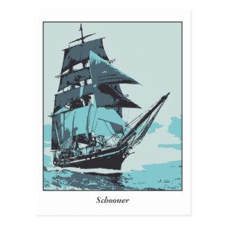 Künstler unterzeichnete vektorkunst, Schooner Postkarte