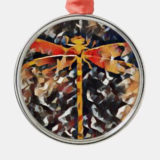 Künstlerisch wärmen Sie Fall, Ton-Libelle Rundes Silberfarbenes Ornament