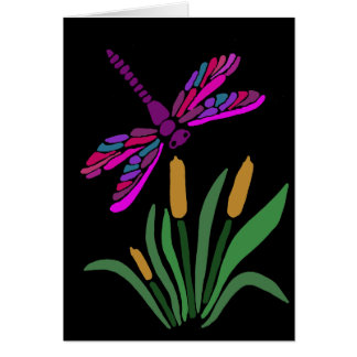 Künstlerische coole Libellen-abstrakte Kunst Karte